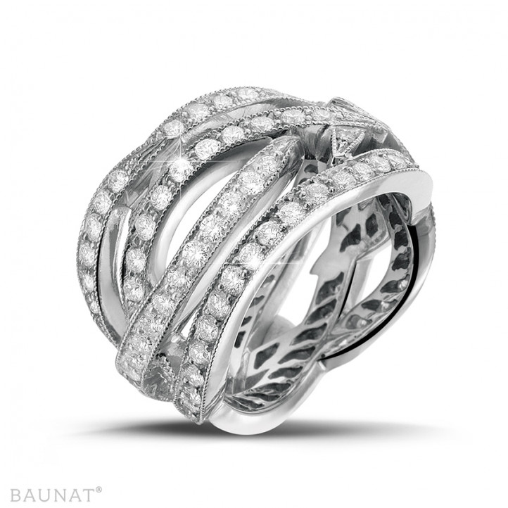 2.50 carat bague design en or blanc et diamants