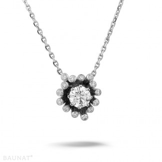 Colliers Or Blanc - 0.75 carat collier design en or blanc avec diamants