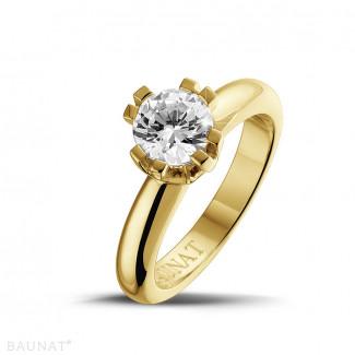 Or Jaune  - 1.25 carat bague design solitaire en or jaune avec huit griffes