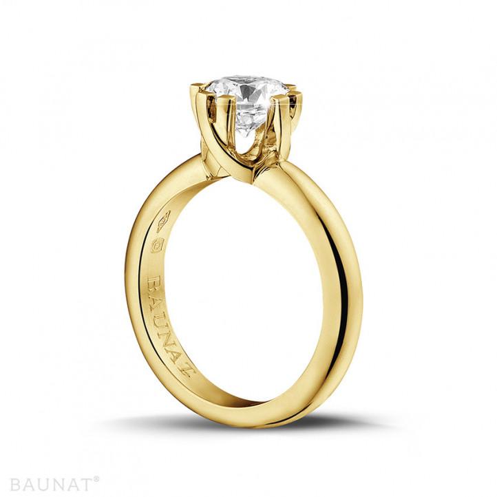 1.50 carat bague design solitaire en or jaune avec huit griffes