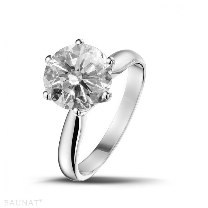 3 00 Carat Bague Solitaire Diamant En Or Blanc Baunat