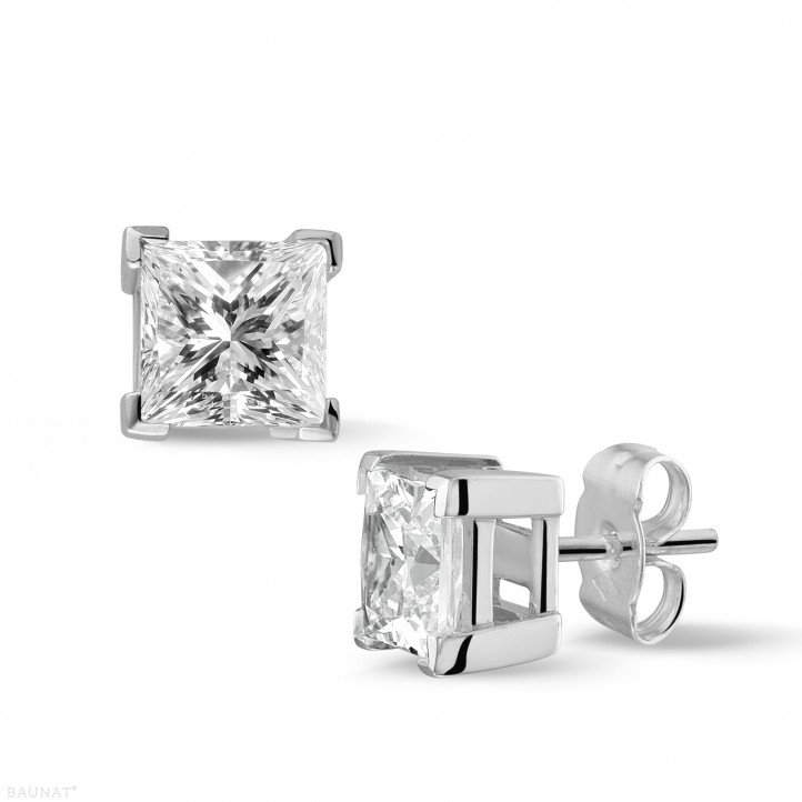 2.50 carat boucles d'oreilles en or blanc avec diamants princesses