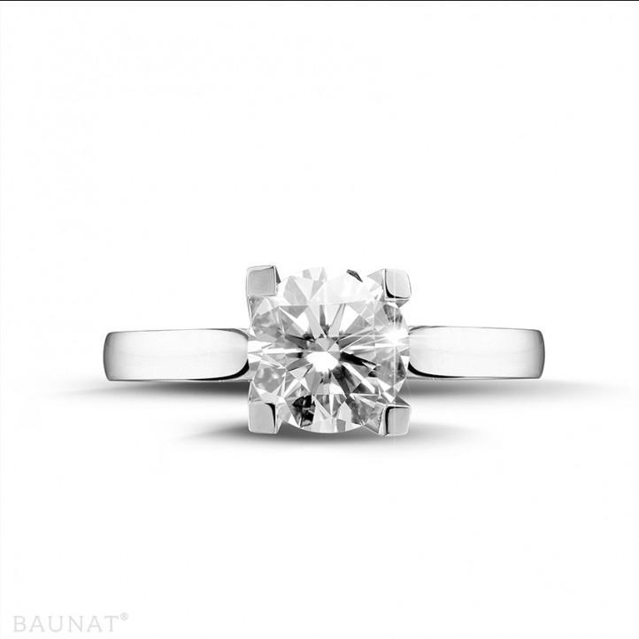 2.00 carats bague solitaire diamant en or blanc