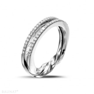 Bagues Diamant Or Blanc - 0.26 carat bague design en or blanc et diamants