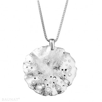 Colliers Or Blanc - 0.46 carat pendentif design en or blanc avec diamants