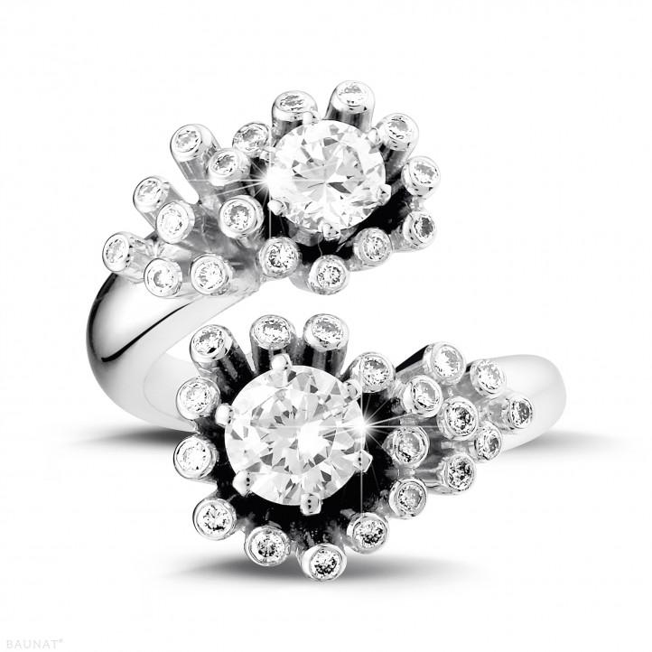 1.50 carat bague design Toi et Moi en or blanc et diamants