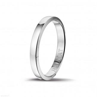 Mariage - Bague pour hommes demi-jonc de 3.00 mm en or blanc