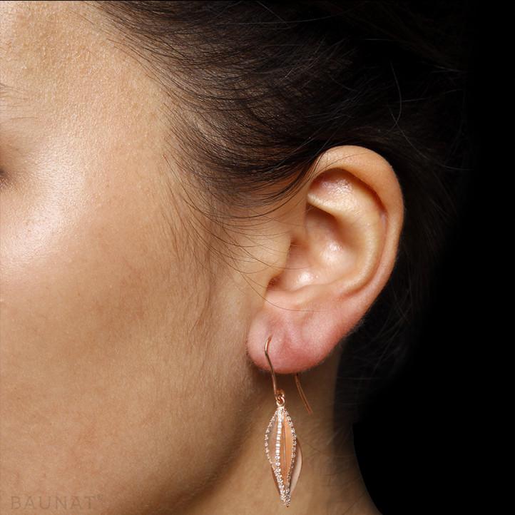 2.26 carat boucles d'oreilles design en or rouge et diamants
