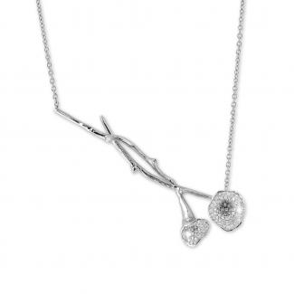 Colliers - 0.73 carat collier design en or blanc avec diamants
