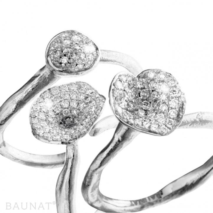Ensemble bagues design en platine et diamants