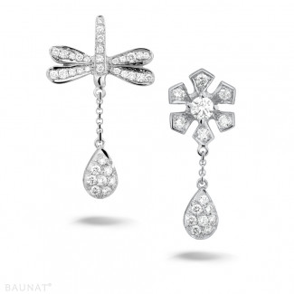 Or Blanc - 0.95 carat boucles d'oreilles fleur et libellule en or blanc et diamants