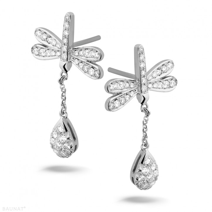 0.70 carat boucles d'oreilles libellule en or blanc et diamants
