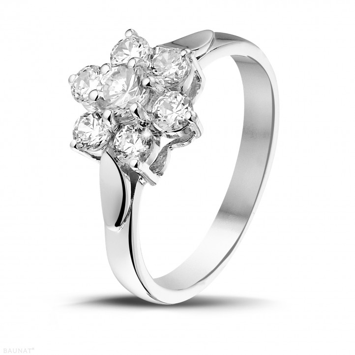 1.00 carat bague fleur en or blanc et diamants