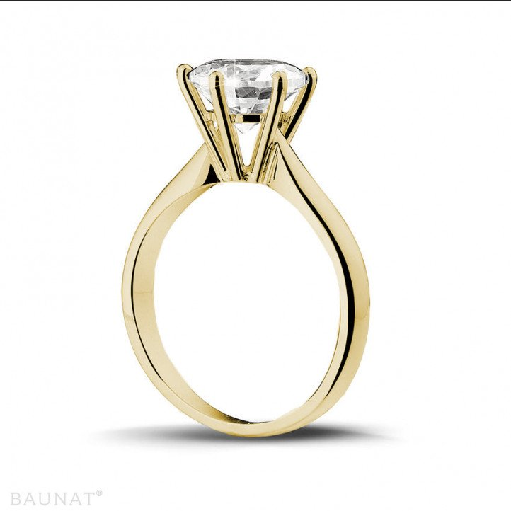 2.50 carats bague diamant solitaire en or jaune