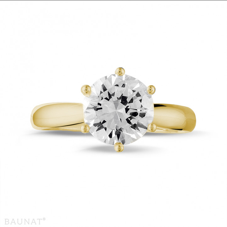 2.50 carat bague diamant solitaire en or jaune