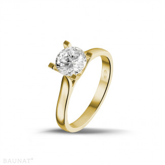 1.25 carat bague diamant solitaire en or jaune