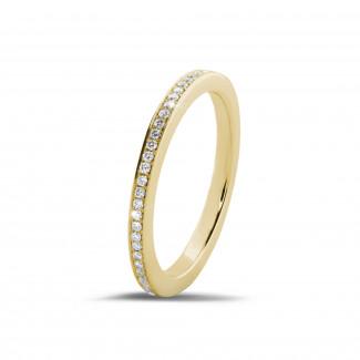 Bague de mariage femme - 0.22 carat alliance (tour complet) en or jaune et diamants