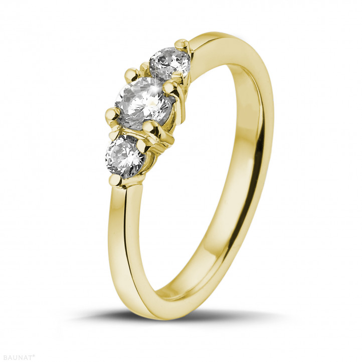 0.45 carat bague trilogie en or jaune et diamants ronds