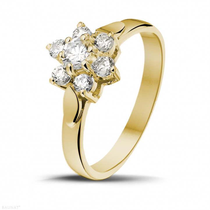 0.50 carat bague fleur en or jaune et diamants
