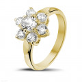 1.15 carat bague fleur en or jaune et diamants
