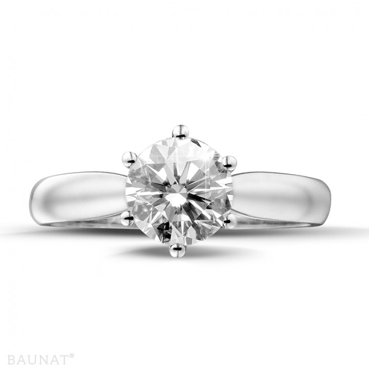 1.25 carats bague diamant solitaire en platine
