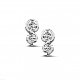 0.44 carat boucles d'oreilles en or blanc et diamants