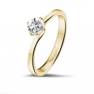 - 0.50 carats bague diamant solitaire en or jaune