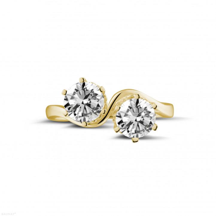 1.50 carat bague Toi et Moi en or jaune et diamants