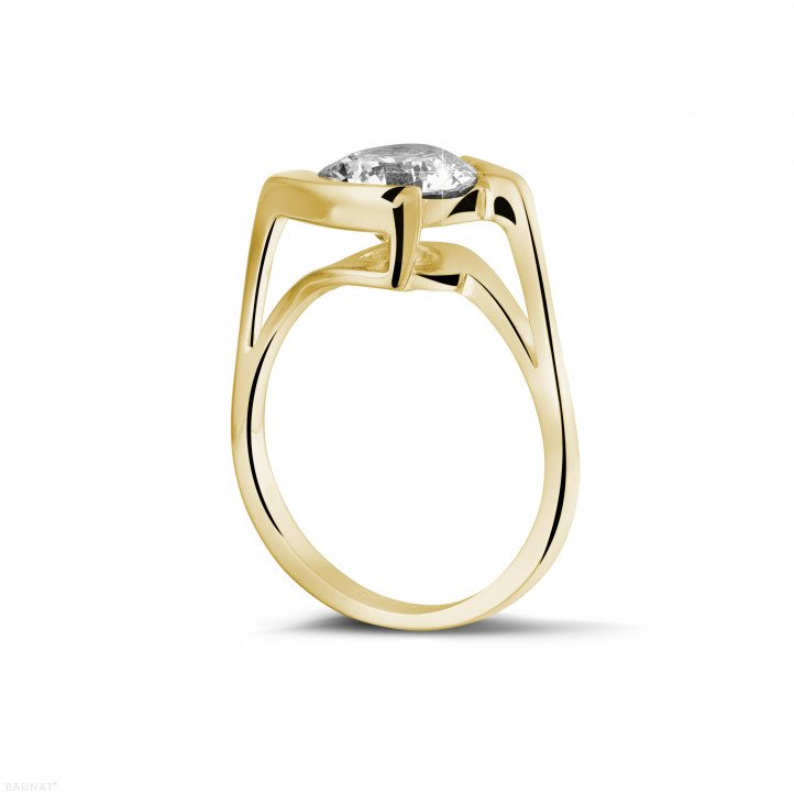 2.00 carats bague diamant solitaire en or jaune