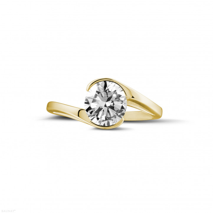 1.25 carats bague diamant solitaire en or jaune