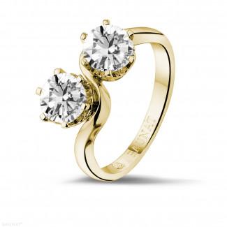 - 1.50 carat bague Toi et Moi en or jaune et diamants