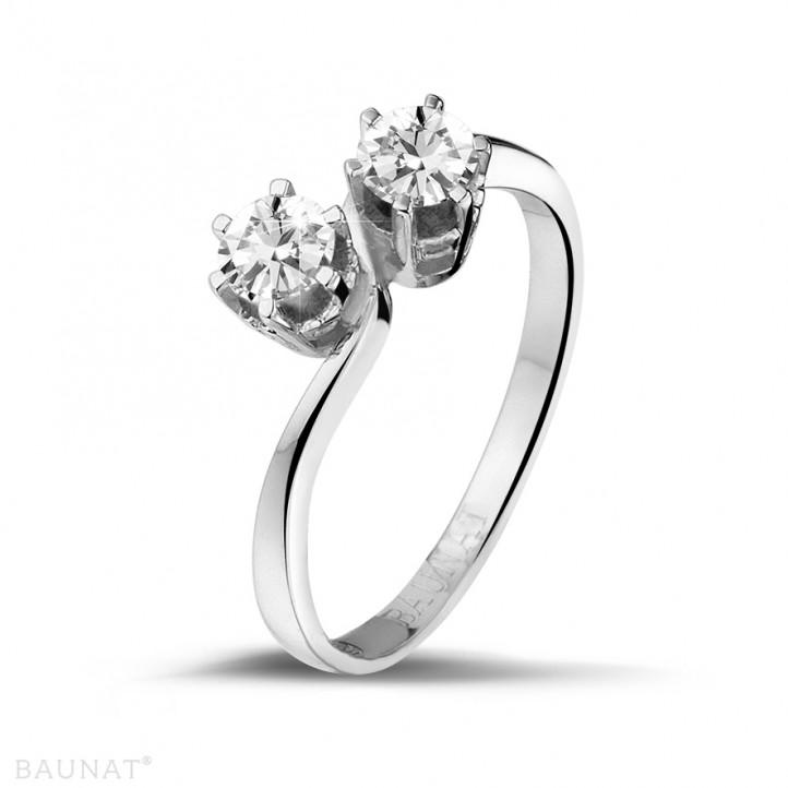 0.50 carat bague Toi et Moi en platine et diamants