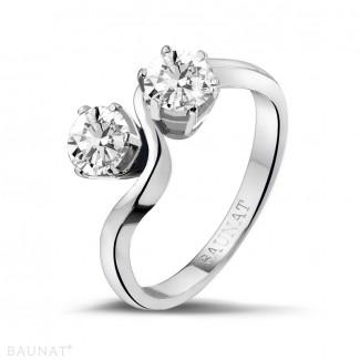 Bagues - 1.00 carat bague Toi et Moi en platine et diamants