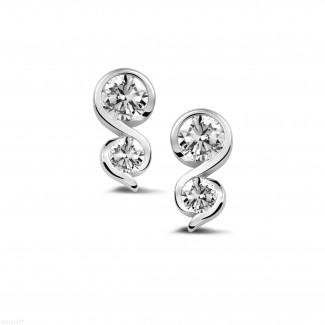 0.70 carat boucles d'oreilles avec diamant en platine