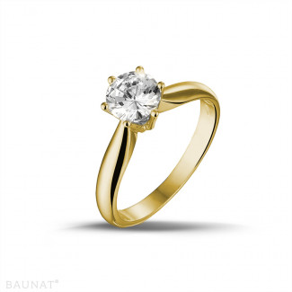 Bagues Diamant Or Jaune - 0.90 carat bague diamant solitaire en or jaune