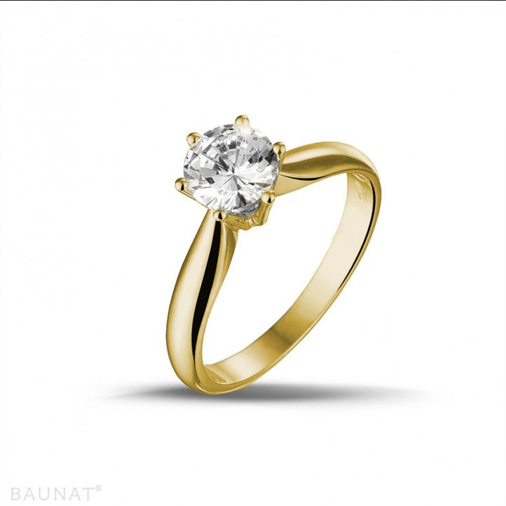 0.90 carats bague diamant solitaire en or jaune