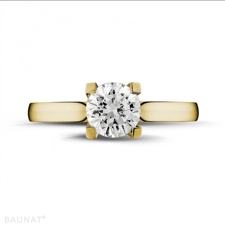 0.90 carat bague diamant solitaire en or jaune