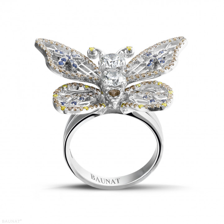 2.00 carat bague papillon design en or blanc et saphir