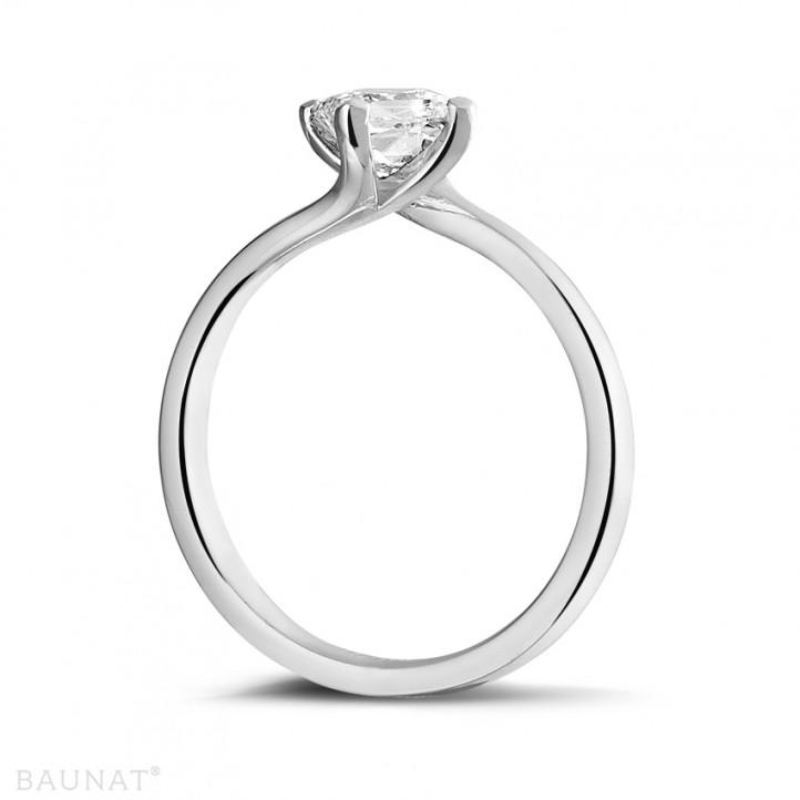 0.70克拉鉑金公主方鑽戒指