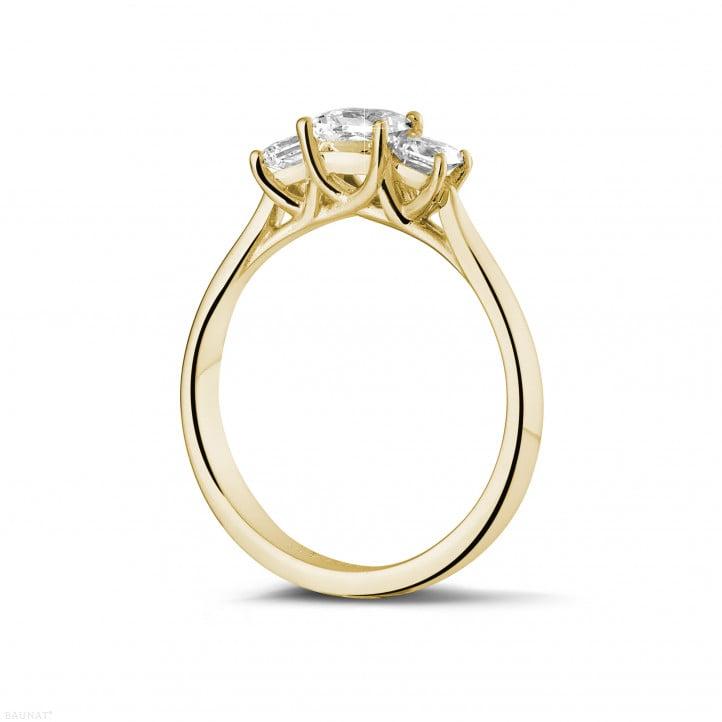 愛情三部曲0.70克拉三鑽黃金戒指