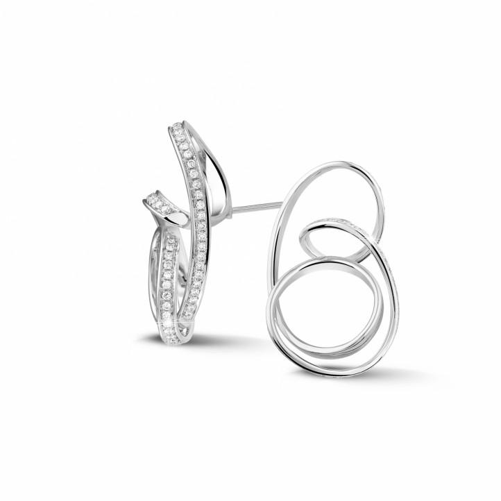 設計系列1.50 克拉白金密鑲鑽石耳環