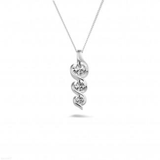 鑽石項鍊 - 三生石0.85克拉三钻白金吊坠