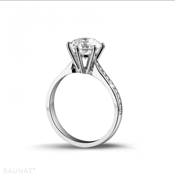 2.00克拉鉑金單鑽戒指- 戒托群鑲小鑽