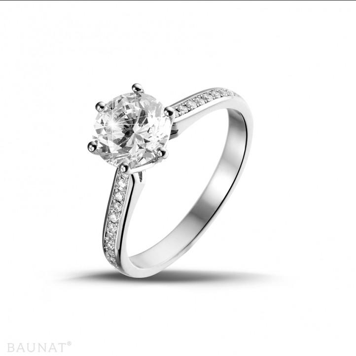 1.50克拉鉑金單鑽戒指- 戒圈密鑲小鑽