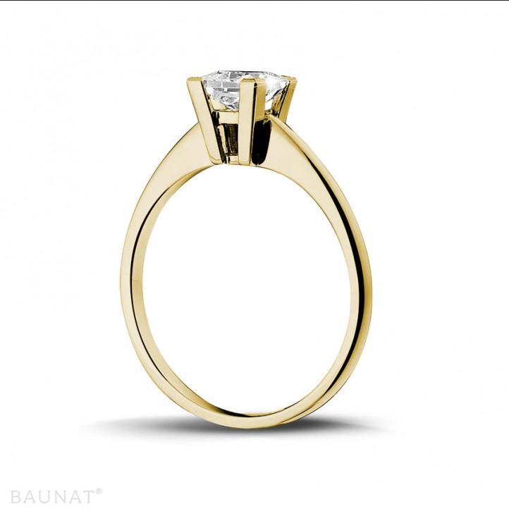 1.00克拉黃金公主方鑽戒指