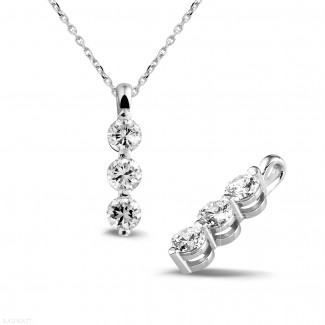 鑽石項鍊 - 三生石1.00克拉三鑽白金吊墜
