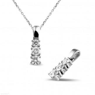 鑽石項鍊 - 三生石0.83克拉三鑽白金吊墜