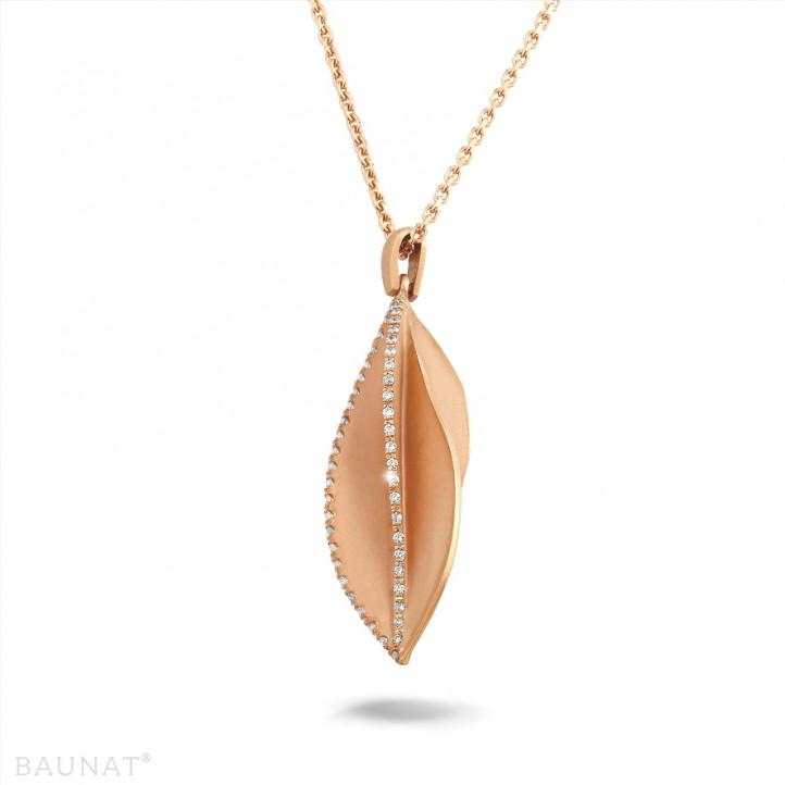 設計系列0.40克拉玫瑰金鑽石項鍊