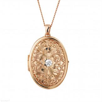 玫瑰金項鍊 - 設計系列0.40克拉玫瑰金鑽石Medaillon盒式吊墜項鍊