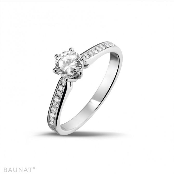 0.50克拉白金單鑽戒指 - 戒圈密鑲小圓鑽